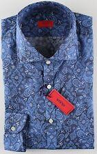 NWT ISAIA DRESS SHIRT paisley logo blue luxury handmade Italy 42 16 1/2