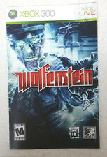 Xbox 360 Wolfensein Instruction Booklet Insert Only Microsoft id