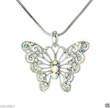 BUTTERFLY W Swarovski Crystal Clear AB Wings New Pendant Necklace Winx Gift