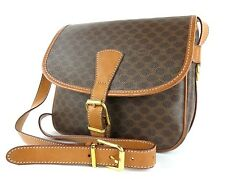 Authentic CELINE Macadam PVC Canvas Leather Cross Body Bag Brown Made in Italy