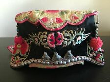 Antique Chinese Silk Embroidered Children's Hat Mask Silver Art Flowers NR #3