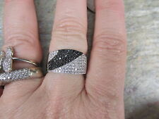 Sterling Silver Black & White CZ Stone Wide Cigar Band Design Ring Cigar NEW