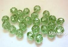 25 5 x 6mm Czech Glass Fire Polished Small Rosebud Beads: Luster - Peridot
