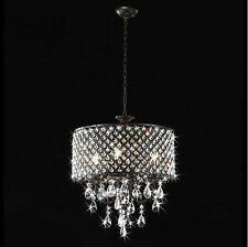 Antique Bronze Finish French 4-light Round Crystal Vintage Ceiling Chandelier