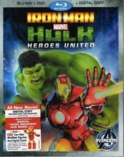 IRON MAN & HULK HEROES UNITED MARVEL BLU-RAY/DVD -NO DIGITAL COPY/CODE FREE SHIP