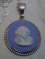 VTG WEDGWOOD JASPERWARE BLUE CLASSICAL MUSE CAMEO CHARM STERLING SILVER PENDANT