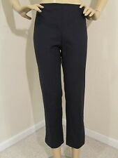 NEW ST JOHN KNIT PANTS SZ 12 BLACK CAVIAR CAPRI PANTS COTTON SPANDEX