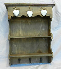 Wooden Farmhouse / Country Style shelf Display Unit with Hooks- BNWT