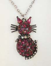 NEW SWEET ROMANCE SPIKE THE CAT CRYSTAL NECKLACE  RED/ CLEAR ~~MADE IN USA~~