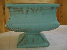 Vintage McCoy pottery square planter on pedestal turquoise w gold color marked