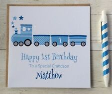 Personalised Train Birthday Card Grandson Son Nephew Godson Dad 1st First
