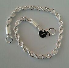 """Unisex Women's 925 Sterling Silver Bracelet Chain 8"""""""