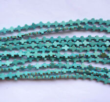 20 Blue Turquoise Howlite Jewelry Making Finding Cross Spacer Loose Beads 10x8mm