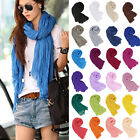 Hot Women Long Big Crinkle Voile Soft Scarf Wrap Shawl Stole Pure Candy Colors
