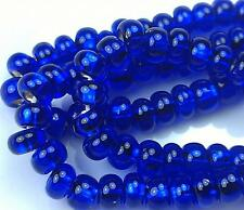 "Czech Glass Seed Beads Size 6/0 "" SILVER LINED COBALT "" Strands"