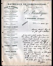 """VALLIERE (23) MATERIAUX de CONSTRUCTION """"E. BOULEGUE"""" en 1911"""