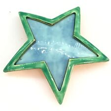 Vtg Huge Star Enamel Blue Green Gold Pin Brooch Massive Designer Runway -44