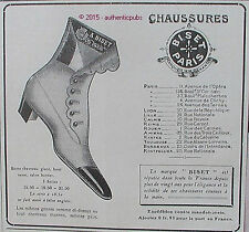 PUBLICITE BISET PARIS CHAUSSURES BOTTE CHEVREAU FEMME DE 1908 FRENCH AD PUB