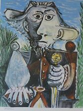 """PABLO PICASSO """" man with sword """" plate signed HAND NUMBERED LITHOGRAPH gouache"""