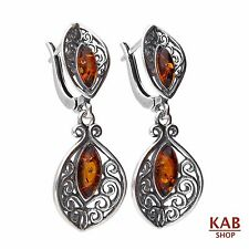 COGNAC BALTIC AMBER STERLING SILVER 925 JEWELLERY EARRINGS. KAB-70A