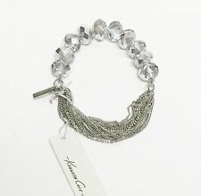 NEW KENNETH COLE SILVER MULTI STRAND LINK CHAIN+CLEAR BEADS ELASTIC BRACELET