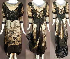 Edwardian Titanic Black Chantilly Lace Beaded Ball Gown Dress Skirt Train Vtg