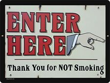 ENTER HERE / NO SMOKING, aluminum sign, mancave, home decor, entrance signs, new