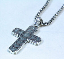 "David Yurman Men's Frontier 42mm Cross Pendant Necklace Silver 22"" $625 NWT"