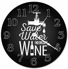 "SAVE WATER DRINK Wine Clock - Large 10.5"" Wall Clock - 2266"