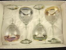 4 Piece Multi Color Rim Wine Glasses Set Cristalleria Fratelli Fumo Italian NEW
