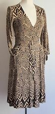 Diane Von Furstenberg Geo Pattern Silk Wrap Over Heracles Dress Size Uk 8