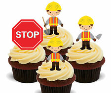 Builders Edible Cup Cake Toppers, Standup Bun Decorations Boy Kids Construction