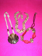 COSTUME JEWELLERY NECKLACES X 3 SHELLS GLASS BEADS BROWN PINK WHITE EARRINGS X1P