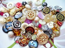 40pcs Vintage Button Round Rhinestone Golden Heart Sewing Dress Assorted