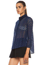 Pretty Chic: Victoria Beckham Navy Broderie Anglaise Flared Loose Shirt New UK6