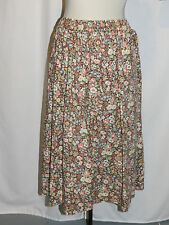 "Vintage Elastic Waist Cotton Skirt w Brown & Pastel Flowers  28"" Waist"