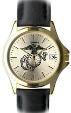 U.S. Marine Corps Brass and Leather Frontier Mens Watch - 30m Water Resistant