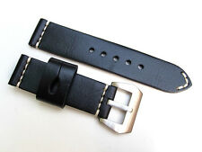 HNS 24MM HANDMADE NATURAL BLACK STRAP HANDED WHITE SEWN PRE-V BUCKLE FOR PANERAI