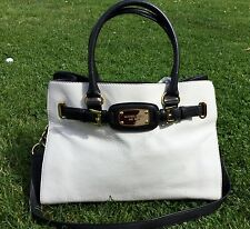 Michael Kors Hamilton Black & White Leather Hand Bag Excellent Condition
