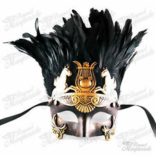 Mens Gold Greek Masquerade Mask - Roman Warrior Venetian Mask with Feathers