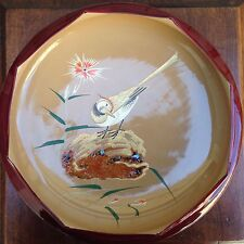 Vintage Quail Bird Carnation Orange Ivory Hand Painted Abalone Lacquer Bowl