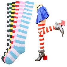 Mädchen Damen Gestreifte Socken Dünn Überknie Halloween Elastisch Cosplay 2016