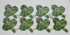 SALE Vintage/Antique Girl Leprechaun Victorian St Patrick's Diecut  Scrap 8pcs