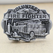 Fire Fighter Truck Volunteer Eagle Fireman Kit Western Silver Rodeo Belt Buckle