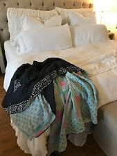 Vintage Handmade India Kantha Quilt Throw Bedspread