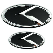 2 CHROME BLACK KIA K EMBLEMS BADGES FOR TRUNK OR HOOD PAIR