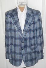 Vintage 70s Blue Gray McGregor Plaid Polyester Jacket 44