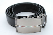 Men's One Size Adjustable Ratchet Black Leather Belt Brushed Gun Metal Buckle