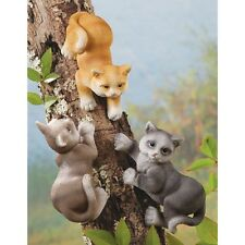 DELUXE Set Of 3 Playful & Cute Cats Tree Sculptures Garden New In Box Gift YARD