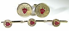 Gold Tone Cufflinks and Studs with Three Chain Linked Crest or Coat of Arms